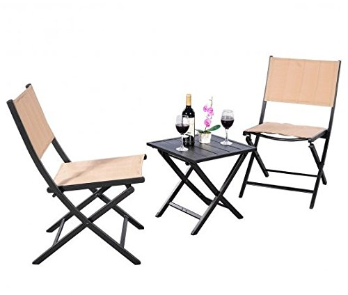 SKB Family 3 pcs Folding Bistro Outdoor Table Chairs Made of durable steel and fabric 2 foldable chairs