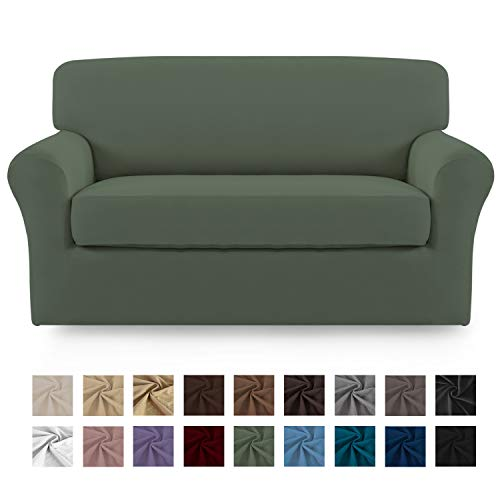 Easy-Going 2 Pieces Microfiber Stretch Couch Slipcover - Spandex Soft Fitted Sofa Couch Cover, Washable Furniture Protector with Elastic Bottom Kids,Pet (Loveseat, Greyish Green)