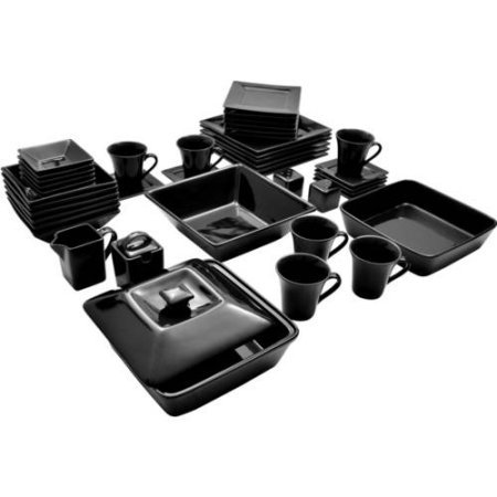 10 Strawberry Street Nova Square Banquet 45-Piece Dinnerware Set (Black) (Plates Dinnerware Black Square)