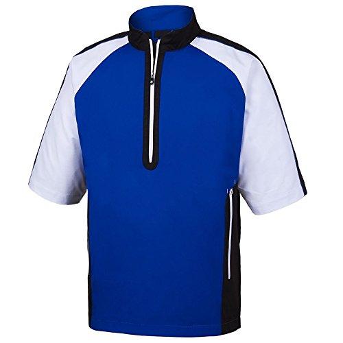 FootJoy Men's Short Sleeve Sport Golf Windshirt (XL, Royal/Black/White) ()