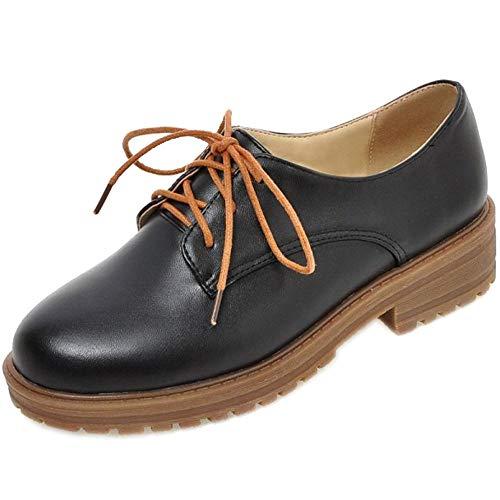 Talons Femme Noir Chaussures Bas Eleemee Derbies 6YFCq8nw