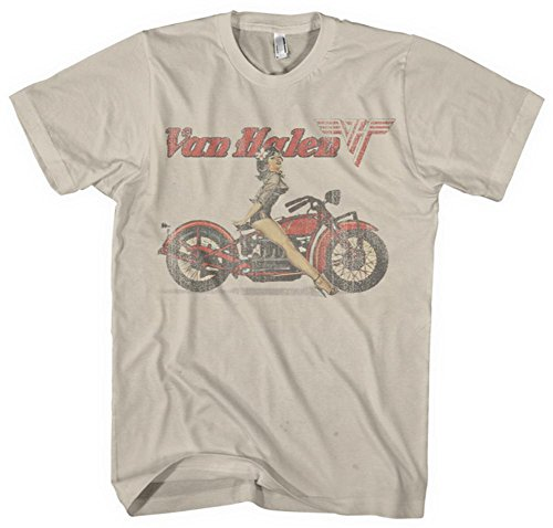 Van Halen - Mens Biker Pin Up T-shirt Large White