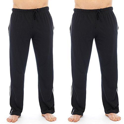 Conjunto de pantalones largos de pijama para hombre, 2 unidades, lisos, incluye calcetines