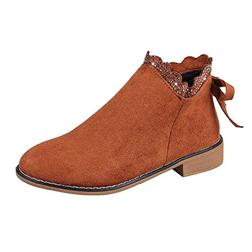 Duseedik Ankle Booties, Fashion Women's Short Boots Bow Lace Ankle Boots Flat Casual Suede Single Boots