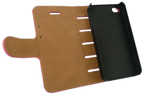 Emartbuy® Slots De Carte De Crédit Rose / Beige Avec Apple Iphone 4 4G 4GS Cuir Pu Slim 2 En 1 Wallet Case Etui Coque