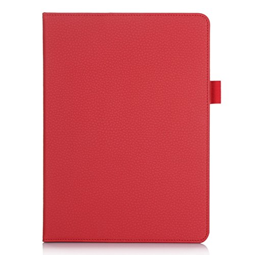 FYY Case for iPad Air 2 - Premium PU Leather Case Smart Auto Wake/Sleep Cover with Hand Strap, Card Slots, Pocket for iPad Air 2 Red
