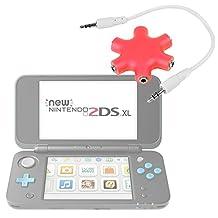 Séparateur audio rouge pour console de jeux Nintendo 2DS XL - 5 entrées pour casques/écouteurs - DURAGADGET