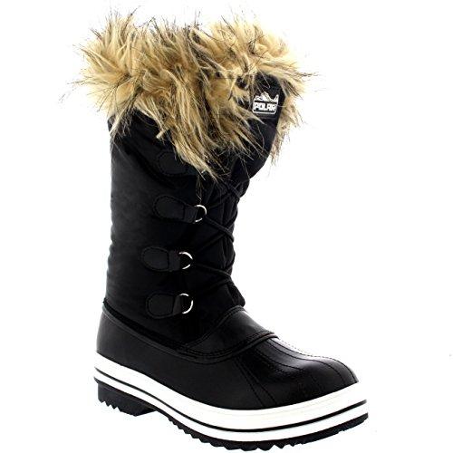 Polar Producten Dames Nylon Warme Eend Regen Sneeuw Buiten Lang Winter Regenlaarzen Zwart