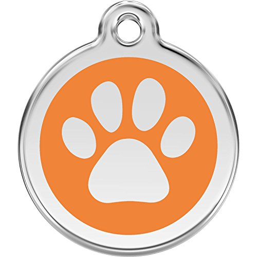 (Red Dingo Personalized Paw Print Pet ID Dog Tag (Medium Orange))