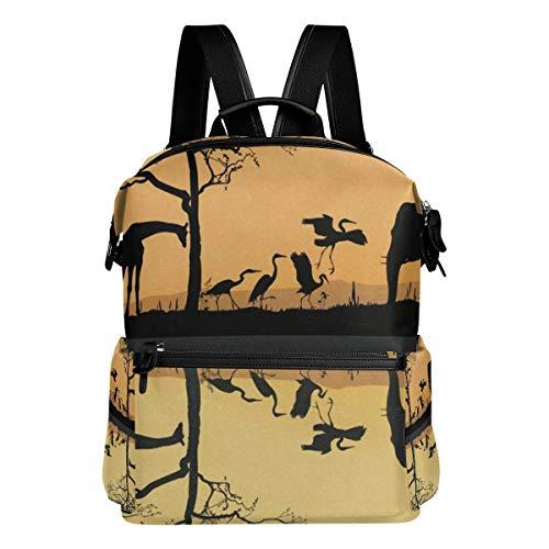 Savana Bag - Polyester Vintage Backpack Leather Casual Bookbag Men Women Laptop Travel Rucksack Savana Giraffes Herons and Elephant