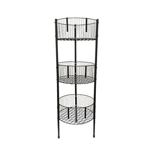 lunanice 3 Shelf Tower Rack Room Kitchen Bathroom Office Retail Dump Bin Display Wire Storage Baskets Toy Dump Display
