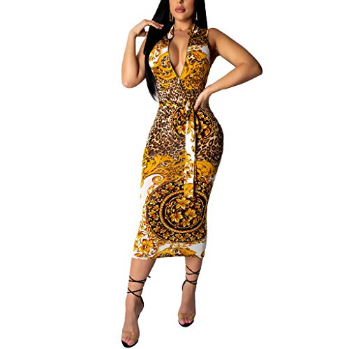Sherro Women's Sexy Deep V Neck Bandage Dress Floral Printed Zipper Bodycon Midi Dress Yellow