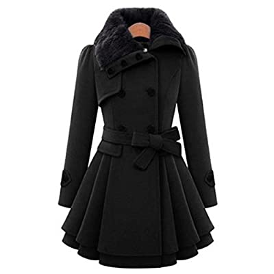 Paymenow Women's Thick Coat Plus Size Winter Double-Breasted Parka Pea Coat Bow Tie Wrap Ruffled Dress Trench Outwear