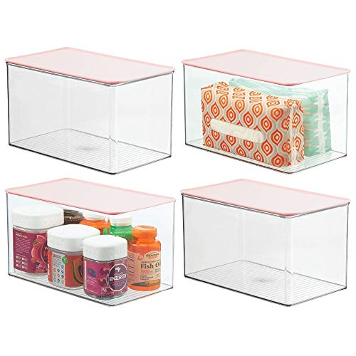 mDesign Stackable Bathroom Storage Box with Attached Hinged Lid – Container for Organizing Hand Soaps, Body Wash…