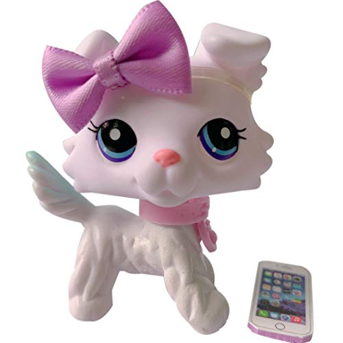 Judy lps Collie New 032 White Collie with Purple Eyes with lps Accessories Bow and Cellphone Kids Birthday Gift