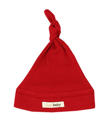 L'ovedbaby Unisex-Baby Organic Cotton Knotted Cap (0-6 Months, Thermal Ruby)