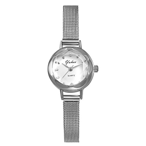 (Ladies Silver Tone Small Crystal Face Bracelet Bangle Watch with Mesh Woven Stainless Steel Strap)