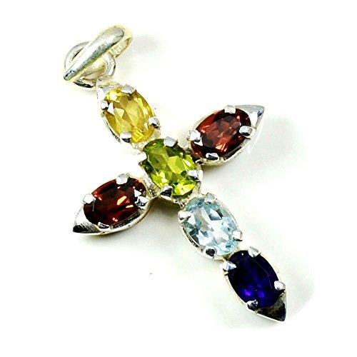 Jewelryonclick Natural Multi Color Gemstone Pendant Cross Sign Divine Locket 925 Sterling Silver for Girl