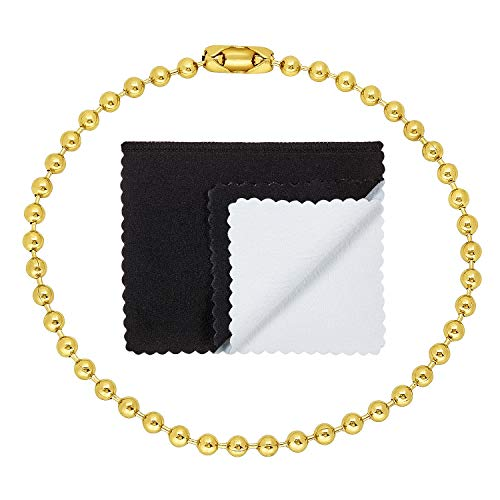 The Bling Factory 3.3mm 25 Mills 14k Gold Plated Round Ball Chain Bracelet, 7 inches + Jewelry Cloth & Pouch
