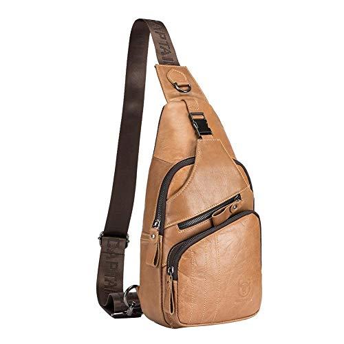 Diamondo Bull Captain Men Shoulder Bags Waist Chest Crossbody Bag (S Light Brown) -