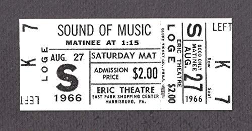 "Julie Andrews""SOUND OF MUSIC"" Christopher Plummer/Peggy Wood/Rodgers & Hammerstein 1966 Unused Movie Ticket"