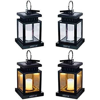 ANDEFINE Hanging Solar Lanterns, Solar Lights Outdoor LED
