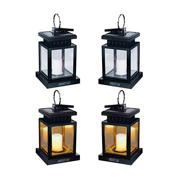 "Solar Lights Outdoor Hanging Lanterns, ANDEFINE Solar Lanterns Outdoor Waterproof Led Umbrella Lights Candle Lamps Hang on Patio Umbrella Shepherd's Hooks Tree Garden (Yellow Light, 4 Pack) - Cute & Portable - LED solar lantern lights size: 3.46""x3.46""x5.5"", with a metal clamp and ring. Easy to hang these solar candle lantern lights to anywhere you want. Lighting and decoration your environment. Perfect Christmas gift! Auto Sensor - Slide the bottom switch to ""AUTO"",outdoor hanging lantern lights will automatically charge itself during the day and light up at night. Solar powered LED lanterns emit a faint yellow light and keep flashing, like the wind blows over the candle lanterns, create a romantic and comfortable space. Weatherproof & Sturdy - Solar umbrella lights made of high quality ABS plastic and metal, withstand sun-scorched and rain-drenched, perfect suitable for outdoor use. Replaceable battery design let the solar lights provide longer service. - patio, outdoor-lights, outdoor-decor - 412BRwEwphL. SS570  -"