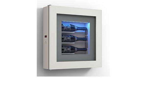 dafnedesign. com - Marco VINO - Expositor separados para tres botellas de horizontal. Estructura de metal. Estructura Puerta de aluminio.