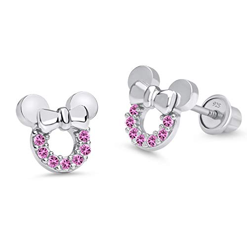 (925 Sterling Silver Rhodium Plated Pink Mouse Cubic Zirconia Screwback Baby Girls Earrings)