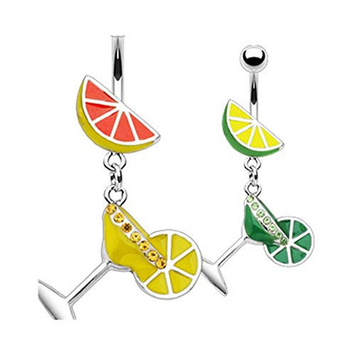 Martini Glass Belly Ring - MsPiercing Fruit Navel Ring With Dangling Martini Glass, A - Lemon