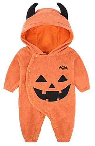 BANGELY Toddler Baby Boys Girls Halloween Costume Pumpkin Hooded Romper Fancy Outfits Size 3-6 Months,Orange1]()
