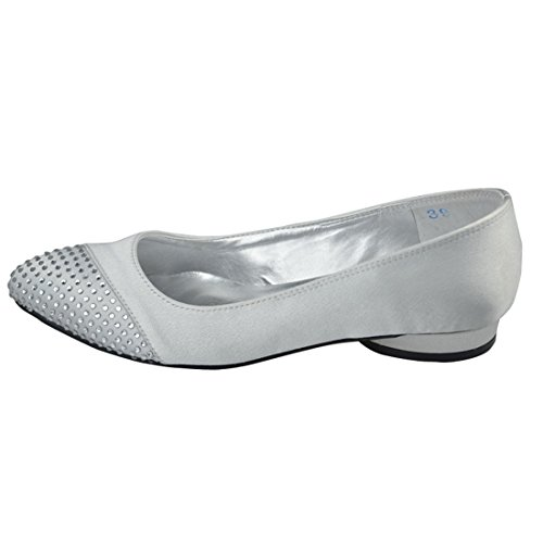 Shoes 2cm Party Wedding Minitoo Bridal Satin Sparkle GYAYL304 Low Ballet Toe Heel Heel Evening Womens Silver Open 8O8WvZF