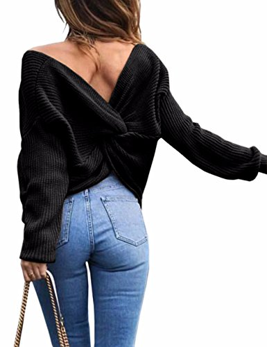 Sexyshine Women's Casual V Neck Criss Cross Backless Long Batwing Sleeve Loose Knitted Sweater Pullovers,Black