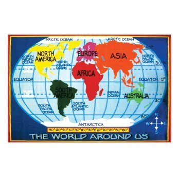 Amazon kids world map rug 53 x 76 nursery rugs baby kids world map rug 53quot gumiabroncs Image collections