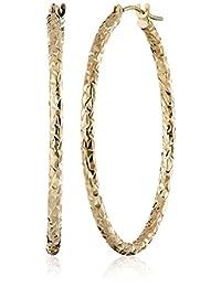 "10k Yellow Gold Crystal Diamond-Cut Hoop Earrings, 1.3"""