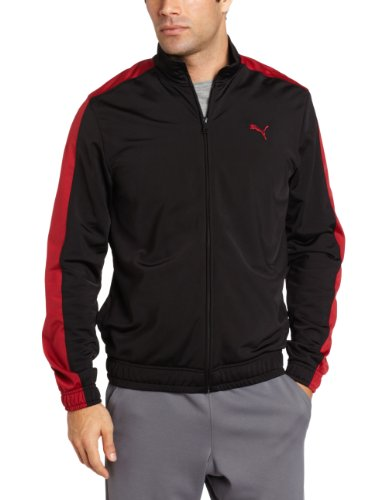 PUMA Men's Knitted Tricot Jacket, Black/Rio Red, Large