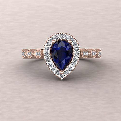 Sapphire Pear Pear Single - Vintage Pear Ring - 7x5mm Blue Sapphire and Diamond Engagement Ring from our Eloise Collection - By Laurie Sarah - LS5656