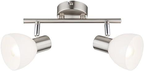 Deckenlampe Deckenleuchte Strahler Spot Wohnzimmerlampe Nickel Glas 2-flammig