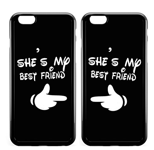 BFF Best Friends Carton Girls She's My Best Friend Forever Sisters Girlfriend Friendship Cousins Matching Cute Funny Stuff for Teen Girl Couple Cases for Teen Girls Black Soft Case for iPhone 8