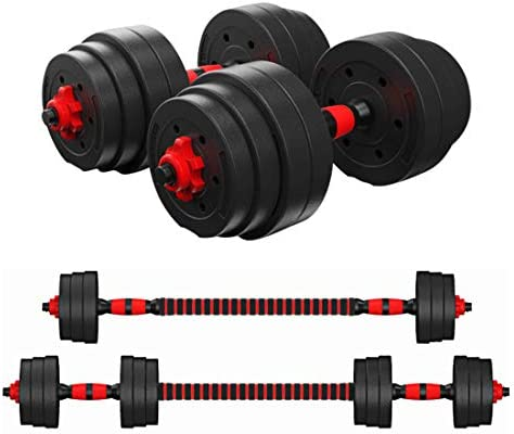KAC Adjustable Dumbbells Barbell 2 in 1 with Connector, Lifting Dumbells for Body Workout Home Gym, Set of two