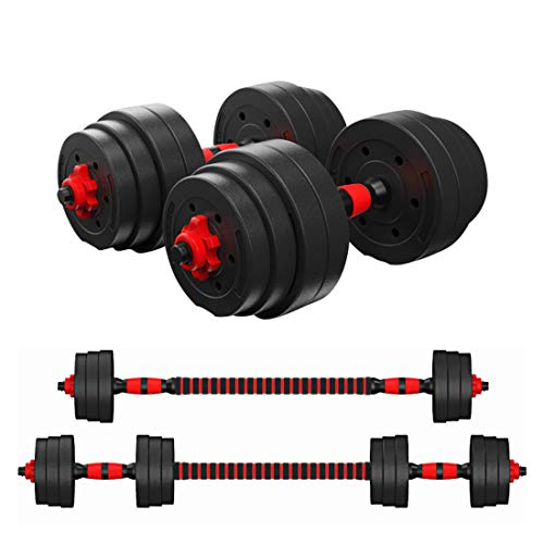 ER KANG Adjustable Dumbbells Barbell 2 in 1 with Connector, Adjustable Dumbbell Barbell Sets Total 88lbs, Lifting…