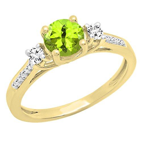 (Dazzlingrock Collection 18K 5 MM Round Peridot, White Sapphire & Diamond Ladies Engagement Ring, Yellow Gold, Size 5.5)