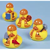 Fun Express Construction Worker Rubber Ducky Party Favors Set (1 Dozen)