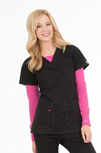 Med Couture Women's 'MC2' Olivia Scrub Top, Black, (Scrub Couture Top)