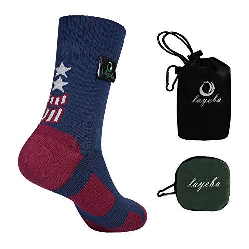 (Layeba 100% Waterproof Breathable Socks [SGS Certified] Unisex Outdoor Sports Hiking Trekking Skiing Socks 1 Pair (Blue, Large))