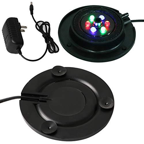 LED Aquarium Air Bubble Light Fish Tank Air Curtain Bubble Stone Disk Multi-Colored LED Aquarium Air Stone Disk Round…