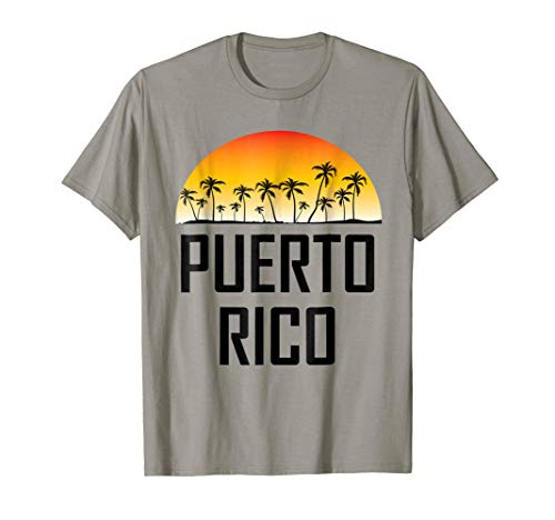 Puerto Rico Sunset And Palm Trees Beach Vacation T-Shirt