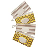 Little Stinker 4 Pack Baby Wipe Case Holder - Keeps Wipes Moist - Premium Wetwipe Cases - 2 White 2 Yellow