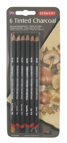 Derwent Tinted Charcoal Pencils, 4mm Core, Pack, 6 Count (Finest Quality Pencils)