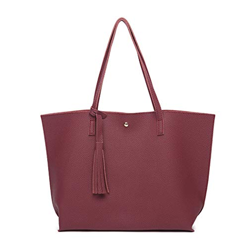 Bag Tassel Bag Ladies Leather Women Hobo Fringe Large Wine Tote Red for with Handbags Bags cwF788SfqB